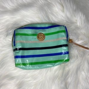 Tory Burch Striped Cosmetic Case Make Up Bag